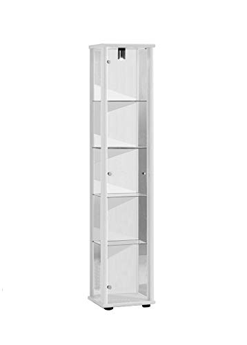 K-Möbel Glasvitrine in Weiss (176x37x33 cm) mit 4 höhenverstellbaren Glasböden aus ESG;...