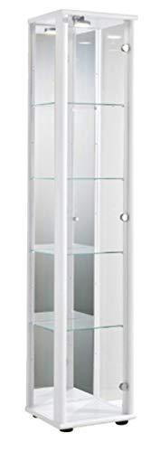 K-Möbel Glasvitrine in Weiss (176x37x33 cm) mit 4 höhenverstellbaren Glasböden aus ESG, LED,...