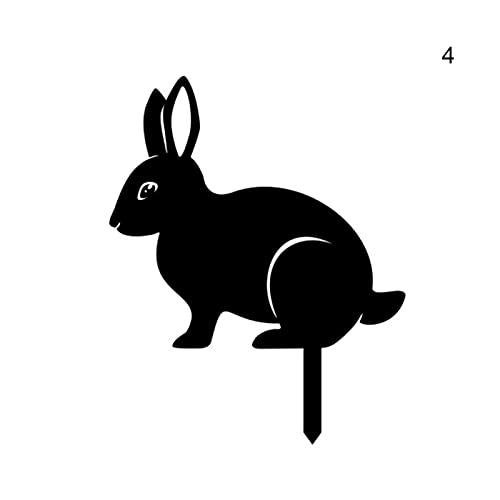 Schwarzer dekorativer Gartenanlage 2D Metallkaninchen Silhouette Einsatz Ornament Kunst Bunny Tier...