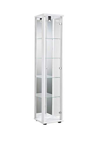 K-Möbel Glasvitrine Sammlervitrine Vitrine Beleuchtung Weiss mit Spiegel 176x37x33 cm incl. 4...
