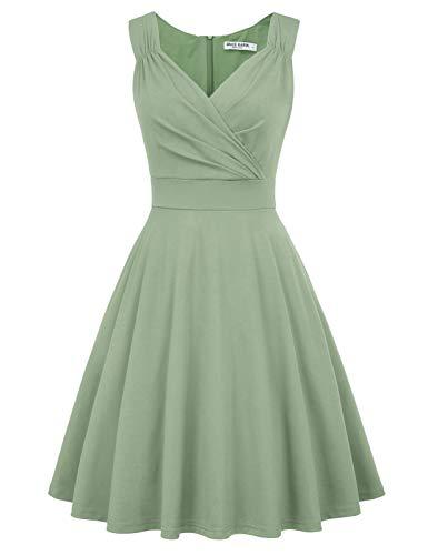 cocktailkleid v Ausschnitt Elegante Kleider Weihnachten Petticoat Kleid 50er Jahre Swing Kleid...