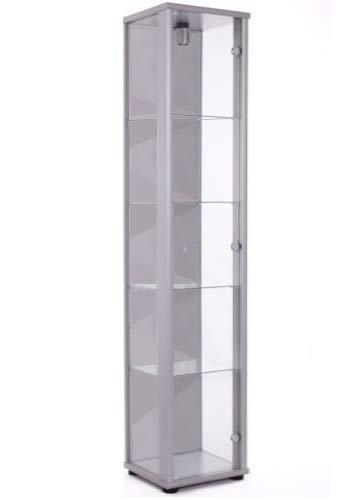 K-Möbel Glasvitrine Sammlervitrine Vitrine mit Beleuchtung in Alu Silber (Dekor) 176x37x33 cm mit 4...