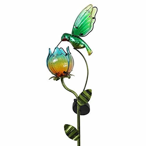 TERESA'S COLLECTIONS 105cm Solarlampe für Außen, Solarleuchte Metall Gartenfigur LED Gartenlampe...