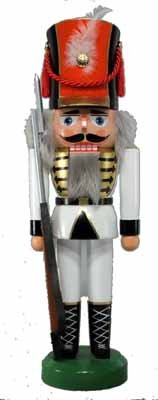 Nussknacker Soldat weiß 36cm NEU Nußknacker Holz Figur Erzgebirge