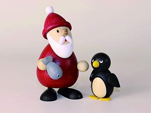 Weihnachtsmann mit Fisch und Pinguin Höhe ca 9,5cm NEU Erzgebirge Weihnachtsfigur Holzfigur