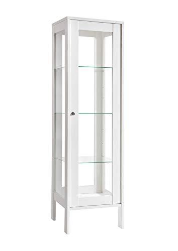 K-Möbel Glasvitrine in Weiß (150x42x40 cm) mit 3 höhenverstellbaren Glasböden aus ESG, LED,...