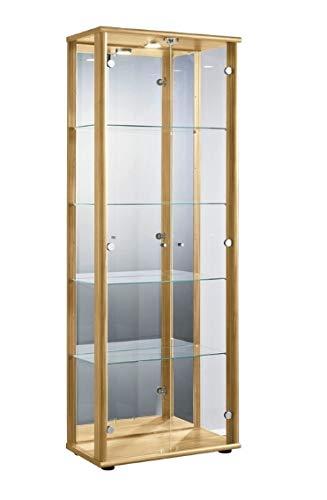 K-Möbel Glasvitrine Sammlervitrine Vitrine mit LED beleuchtet mit Schloß und Spiegel an der...