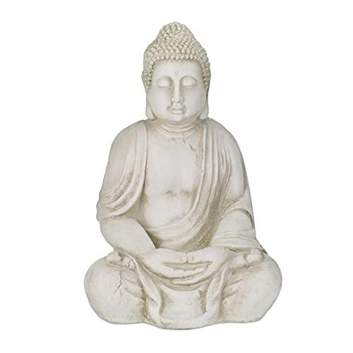 Relaxdays XXL Buddha Figur, großer Gartenbuddha sitzend, 70 cm hoch, wetterfest & frostsicher,...