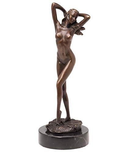 aubaho Bronzeskulptur Frau 31cm Erotik Bronze Akt Skulptur Bronzefigur im Antik-Stil