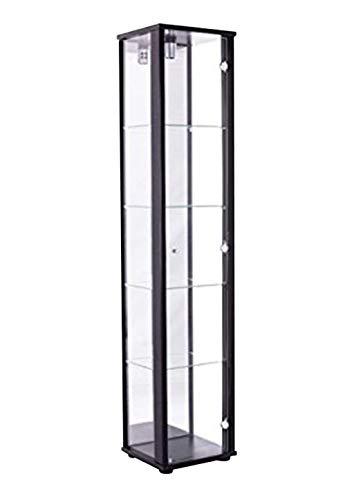 K-Möbel Glasvitrine in Schwarz (176x37x33 cm) mit 4 höhenverstellbaren Glasböden aus ESG, mit...