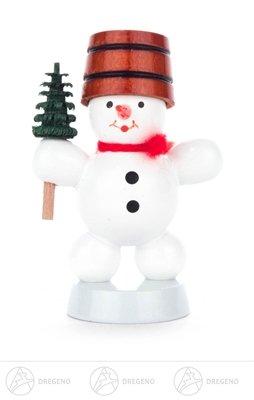 Weihnachtliche Miniatur Schneemann mit Baum Höhe ca 6 cm NEU Erzgebirge Weihnachtsfigur Holzfigur