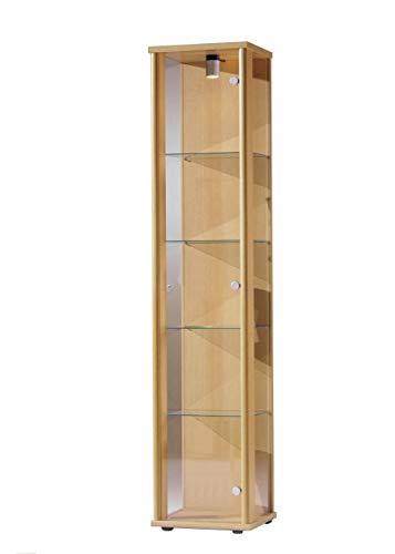 K-Möbel Glasvitrine in Buche Dekor (176x37x33 cm) mit 4 höhenverstellbaren Glasböden aus ESG;...