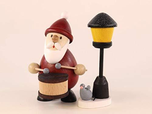 Ulrich Kunsthandwerk Weihnachtsfigur Weihnachtsmann mit Trommel und Laterne Höhe 9,5cm NEU Miniatur...