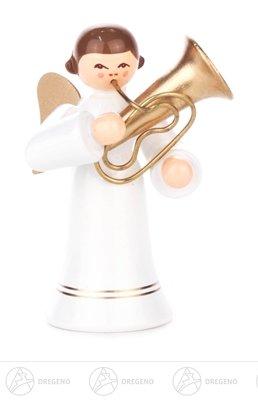 Engel mit Tuba, langer Rock, farbig Höhe ca 6 cm NEU Erzgebirge Weihnachtsfigur Holzfigur