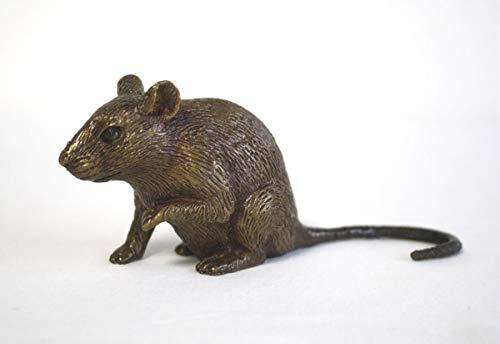 Thermobrass Bronzefigur kleine lebensechte Maus Nagetier Dekoration für den Garten - 13x6x4 cm...