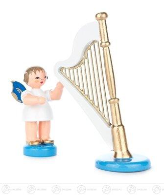 Engel mit Harfe stehend, blaue Flügel Höhe ca 9,5 cm NEU Erzgebirge Weihnachtsfigur Holzfigur
