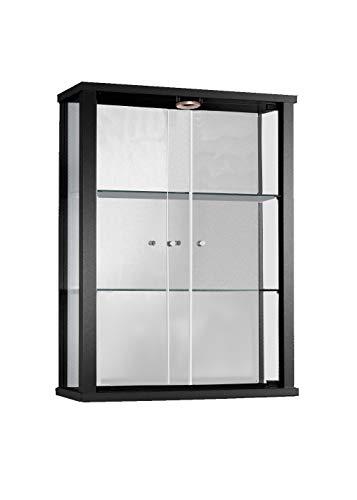 K-Möbel Glasvitrine in Schwarz (80x60x25 cm) mit 2 höhenverstellbaren Glasböden aus ESG, LED und...