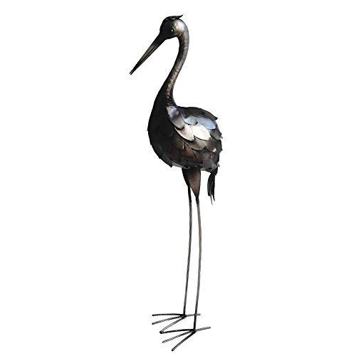 Deko Tier Skulptur Kranich Figur Steck Statue Garten Dekoration Vogel Silber antik Harms h504027