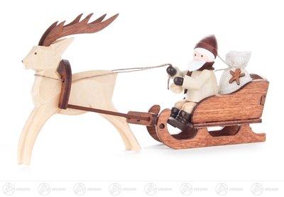 Weihnachtliche Miniatur Nikolaus im Rentierschlitten natur Breite x Höhe x Tiefe 14,5 cmx8,5 cmx2,5...