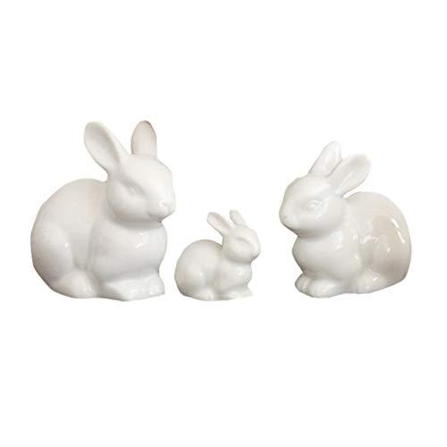 VOSAREA 3St. Kaninchen Figur Miniature Keramik Porzellan Hase Statue Osterhasen Figuren Tierfigur...