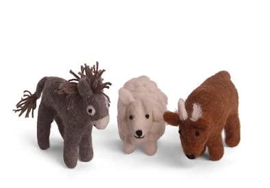 Én Gry & Sif Krippentiere (Esel Schaf Ochse), Krippenfiguren aus Natur-Filz, Hand-Made, fair-Trade,...