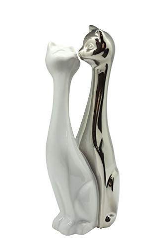 Skulptur Dekofigur Katzenfigur Paar Katzen aus Keramik weiß und Silber Höhe 30 cm Breite 15 cm