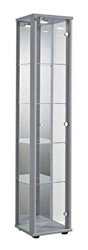 K-Möbel Glasvitrine in Silber (176x37x33 cm) mit 4 höhenverstellbaren Glasböden aus ESG, LED,...
