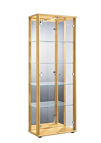 K-Möbel Glasvitrine in Buche (176x67x33 cm) mit 4 höhenverstellbaren Glasböden aus ESG, LED,...
