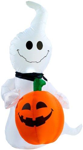 infactory Halloween aufblasbar: Selbstaufblasender Halloween-Geist mit Beleuchtung, 120 cm hoch...