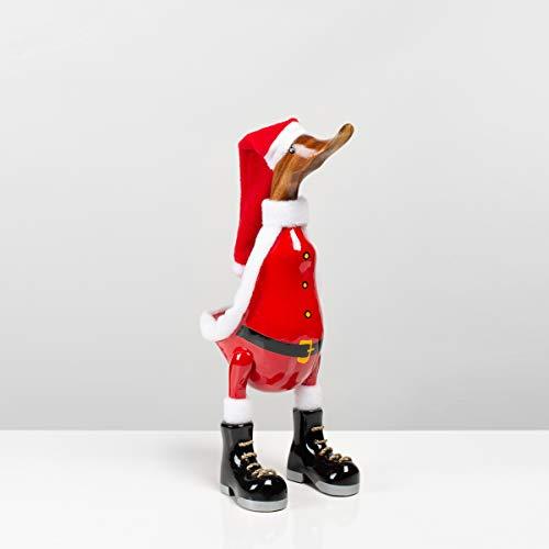 Rikmani - Holzfigur Santa Ente Weihnachten - Handgefertigte Dekoration aus Holz Geschenk Figur 33 cm