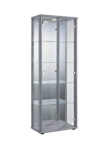 Markenlos Glasvitrine in Silber (176x67x33 cm) mit 4 höhenverstellbaren Glasböden aus ESG, LED,...