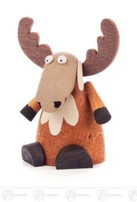 Miniatur Elch sitzend Höhe ca 7 cm NEU Erzgebirge Weihnachtsfigur Holzfigur