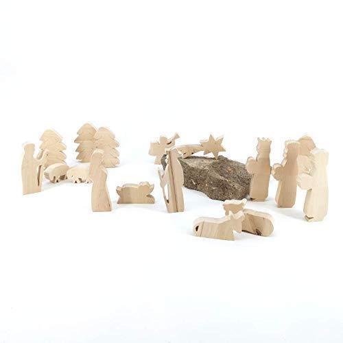 Set Krippenfiguren I Tanne - handgefertigte Krippenfiguren aus Holz - Weihnachtsgeschenk, Nikolaus