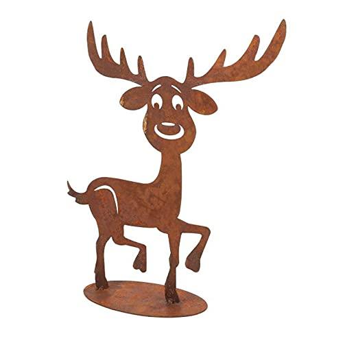 DbKW (Rentier Deko-Figur) Weihnachtliche Dekoration aus Holz und rostigem Metall, Aufsteller...