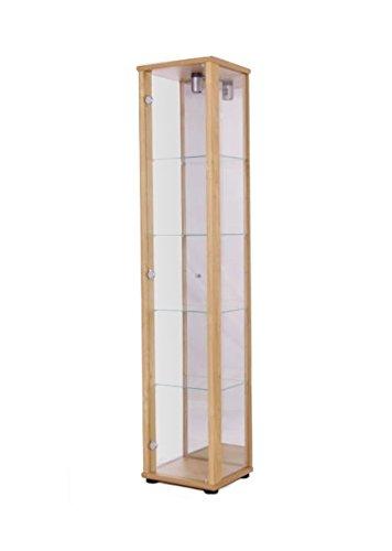K-Möbel Glasvitrine in Buche (176x37x33 cm) mit 4 höhenverstellbaren Glasböden aus ESG und...