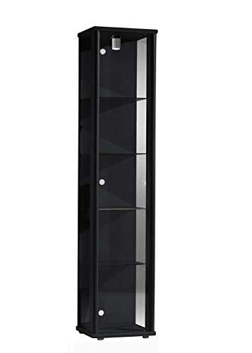 K-Möbel Glasvitrine in Schwarz (176x37x33 cm) mit 4 höhenverstellbaren Glasböden aus ESG;...