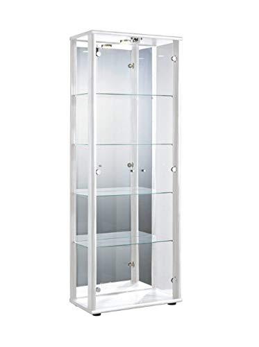 K-Möbel Glasvitrine in Weiss(176x67x33 cm) mit 4 höhenverstellbaren Glasböden aus ESG, LED,...