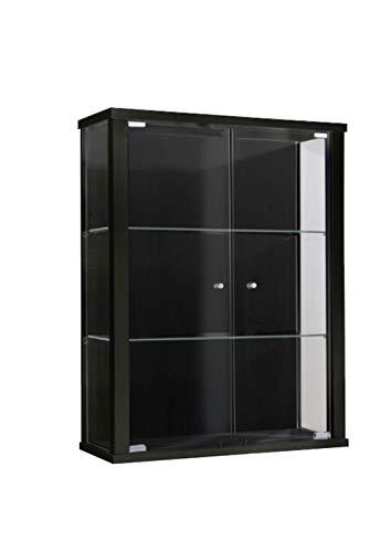 K-Möbel Glasvitrine in Schwarz (80x60x25 cm) mit 2 höhenverstellbaren Glasböden aus ESG; perfekt...