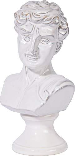 dobar 10435e Dekorative Gartenfigur Mann Gr. M, Büste aus Keramik, 17 x 14 x 33 cm, glasiert, Weiß
