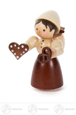 Weihnachtliche Miniatur Mädchen mit Pfefferkuchen natur NEU Erzgebirge Weihnachtsfigur Holzfigur