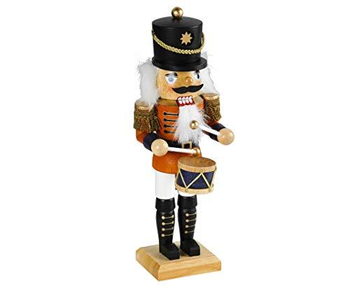 Weihnachtsdekoration Nussknacker Trommler im klassischen Erzgebirge-Stil 45 cm groß Weihnachtsfigur...