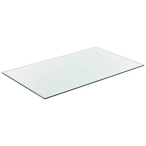 [neu.haus] Glasplatte 100x62cm Eckig Glasscheibe Tischplatte ESG Glas Kaminplatte Kaminglas DIY...