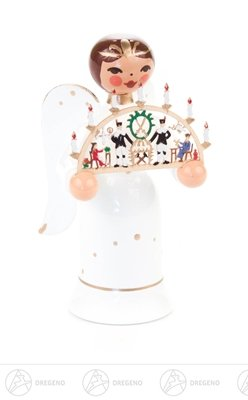 Engel Miniatur mit Schwibbogen 'Erzgebirge' Höhe ca 5,5 cm NEU Erzgebirge Weihnachtsfigur Holzfigur