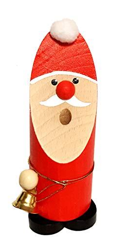 Hess Holzspielzeug 40015 - Räuchermann aus Holz, Weihnachtsmann mit Glöckchen, ca. 13 cm,...