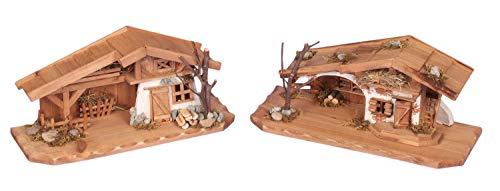 Modellhaus Holzhaus 30cm Krippe incl. 11 Krippenfiguren