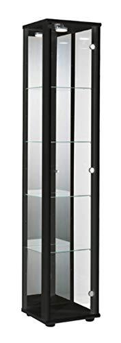 K-Möbel Glasvitrine in Schwarz (176x37x33 cm) mit 4 höhenverstellbaren Glasböden aus ESG, LED,...