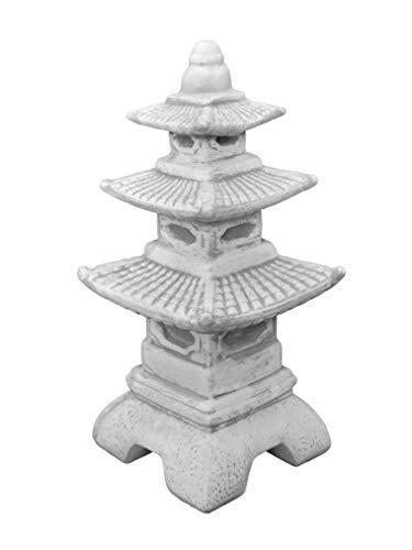 gartendekoparadies.de Massive japansiche Steinlaterne Pagode aus Steinguss frostfest (Grau)