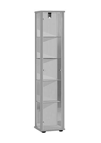 K-Möbel Glasvitrine in Silber (176x37x33 cm) mit 4 höhenverstellbaren Glasböden aus ESG;...