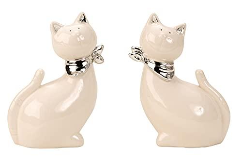 Moderne Katzen Skulptur Dekofigur mit silbernem Halstuch aus Keramik weiß/Silber Höhe 13 cm Breite...
