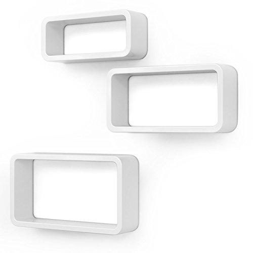 SONGMICS Wandregal, 3er Set, Cube Regal, Schweberegal, Würfelregal, Belastbarkeit bis 15 kg, Länge...